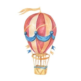 Balon transportowy sterowiec akwarela ilustracja ręcznie rysowane cliparty dziecko ładny zestaw duży rocznik retro maszyna do pisania wstążka drzewo do zdjęć napisów do przedszkola