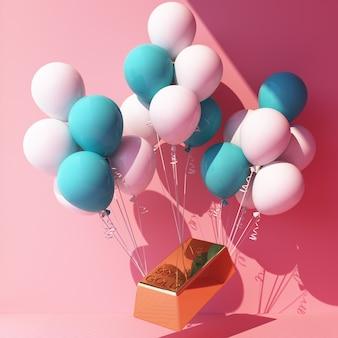 Balon w kolorze turkusowo-białym zawiązany złotą sztabką i podciągający go na różowo