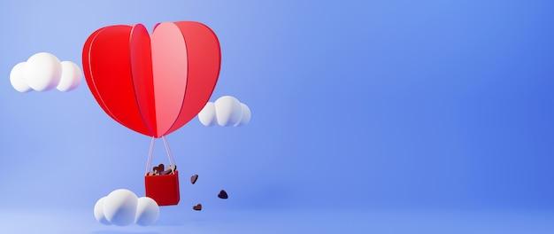 Balon w kształcie serca niosący czekoladę na tle nieba koncepcja uroczystości dla szczęśliwych kobiet, tata mama, słodkie serce,