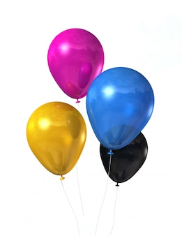 Balony cmyk kolorowe na białym tle