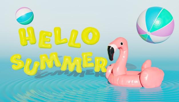 Balony hello summer obok pływaka flamingo z piłeczkami plażowymi w powietrzu