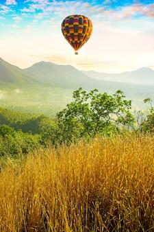 Balony i góry o porankukolorowe balony na ogrzane powietrze latające nad górą