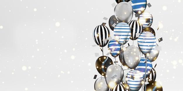 Balony i obrazy tła bokeh wielokolorowa wstążka specjalny dzień tło 3d ilustracja