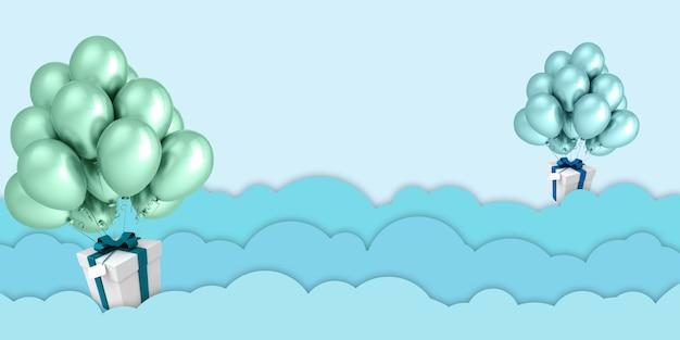 Balony i pudełka na prezenty unoszące się na niebie, zielone, papierowe grafiki, chmury i pudełka na prezenty na tle błękitnego nieba