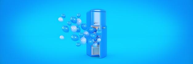 Balony i renderowanie 3d lodówka zamrażarka