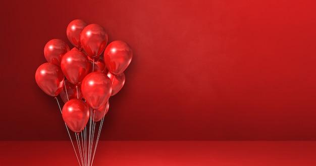 Balony kilka na tle czerwonej ściany. baner poziomy. renderowanie ilustracji 3d