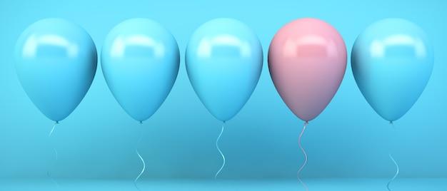 Balony niebieskie i różowe