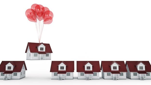 Balony podnoszące dom na białym tle renderowania 3d