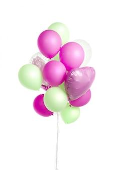Balony powietrza zielony i fioletowy i niebieski na białym tle