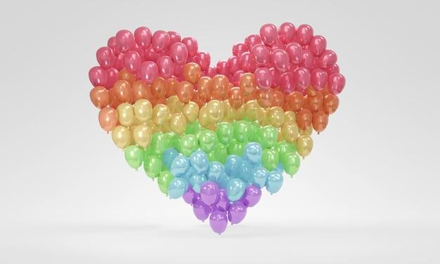 Balony renderowania 3d w kolorze tęczy unoszące się w koncepcji kształtu serca symbolu koloru lgbtq