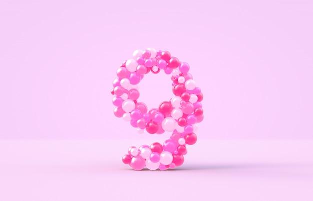 Balony słodki różowy cukierek numer 9.