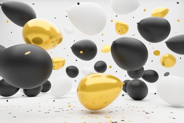 Balony w kolorze białym, czarnym i złotym spadają i podskakują na ziemi.