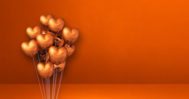 Balony w kształcie miedzianego serca na pomarańczowej ścianie. poziomy baner. renderowania 3d