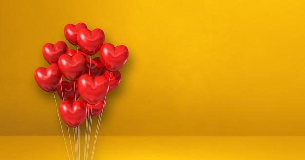 Balony w kształcie serca czerwonego na tle żółtej ściany. baner poziomy. renderowanie ilustracji 3d