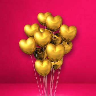 Balony w kształcie złotego serca na różowej ścianie. renderowanie ilustracji 3d