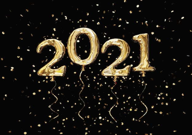 Balony złote, cyfra 2021 i błyszczące konfetti