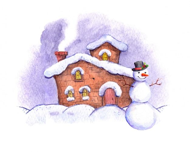 Bałwan i zimowy dom akwarela