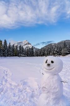 Bałwan na zaśnieżonym placu zabaw kaskadowa góra i drzewa w tle park narodowy banff