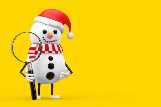 Bałwan w santa claus kapelusz maskotka charakter z lupą na żółtym tle. renderowanie 3d