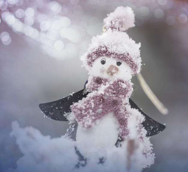 Bałwan w zimowym tle
