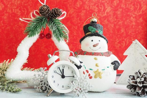 Bałwan zabawki świąteczne, budzik, srebrny płatek śniegu i blichtr na czerwonym tle.