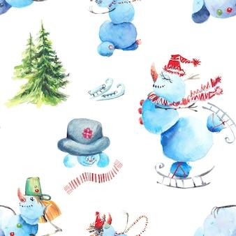 Bałwanki zima wzór. bałwanki w różnych kapeluszach