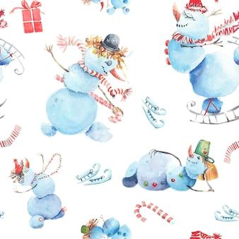 Bałwanki zima wzór. bałwany w różnych kapeluszach. łyżwy, szaliki, cukierki