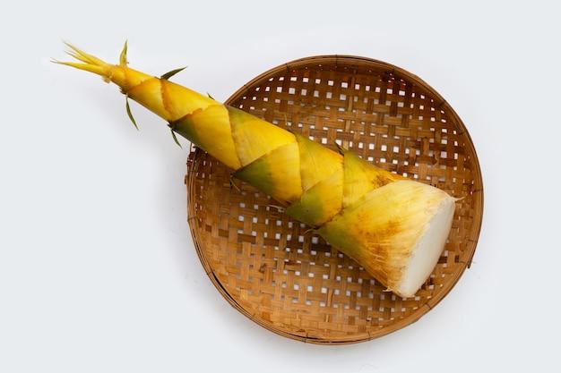 Bambus strzela w bambusowym koszu na białym tle.