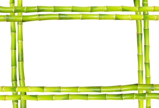 Bambusowa rama wykonana z łodyg na białym tle