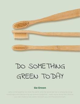 Bambusowe szczoteczki do zębów plakat naturalny produkt biodegradowalny