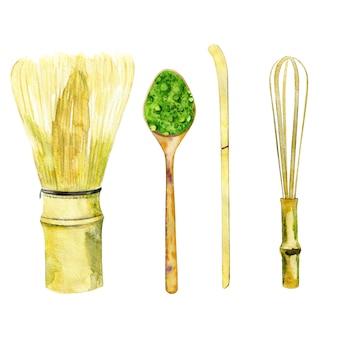 Bambusowe trzepaczki i łyżki do matchy