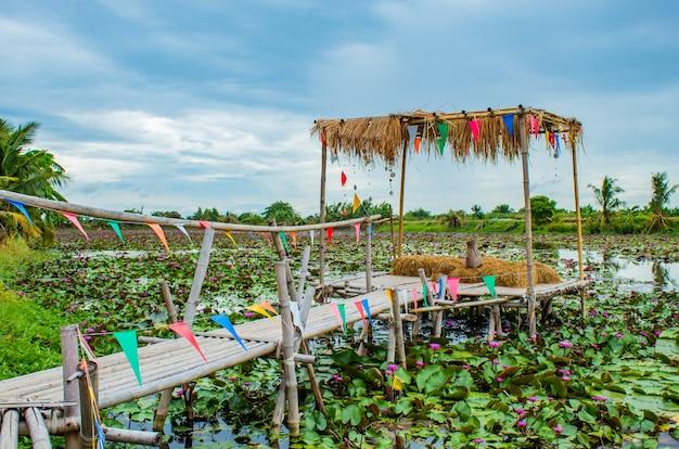 Bambusowy przejście na stawie