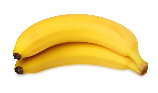 Banan na białym tle na białym tle ze ścieżką przycinającą. pęczek dwóch dojrzałych bananów.