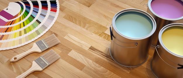 Baner lakierni. kompozycja ze szczotkami, paletą kolorów i pojemnikami z farbą.