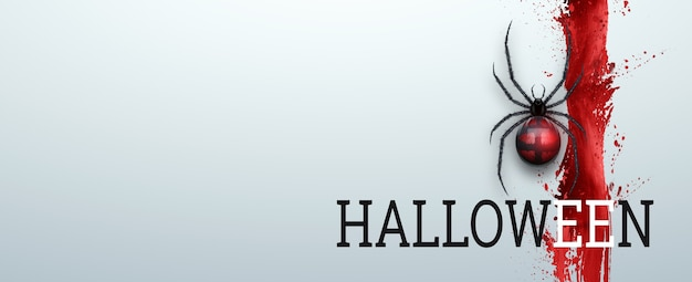 Baner na halloween. napis halloween na czerwono na białym tle
