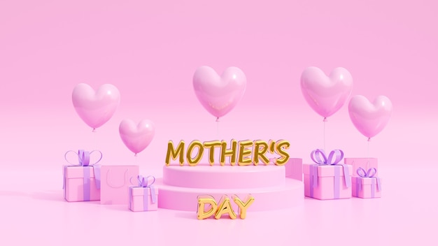 Baner na różowym tle z okazji dnia matki, używany jako ulotki, zaproszenia, plakaty, broszura. skopiuj miejsce. ilustracja 3d