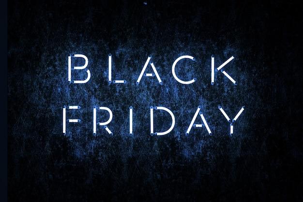 Baner reklamowy w czarny piątek grafika 3d ilustracja czarnego piątku z oświetleniem neonowym