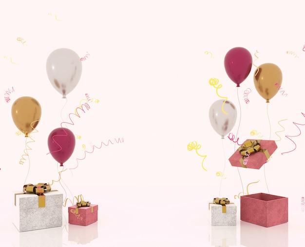 Baner strony z pudełko z konfetti, serpentyny i balony party błyszczy na jasnym tle i miejsce na tekst. świąteczne lub obecne koncepcji renderowania 3d renderowania.