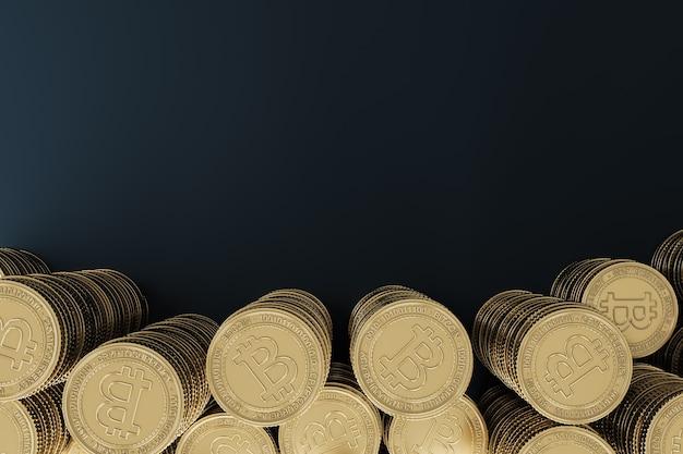 Baner tła dla kryptowaluty ogromny stos złotych monet kryptograficznych bitcoin