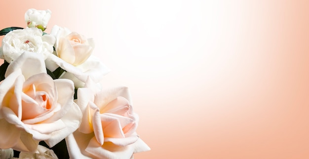 Baner z bukietem biało-brzoskwiniowym z różami i piwoniami. kartkę z życzeniami z miejsca na kopię
