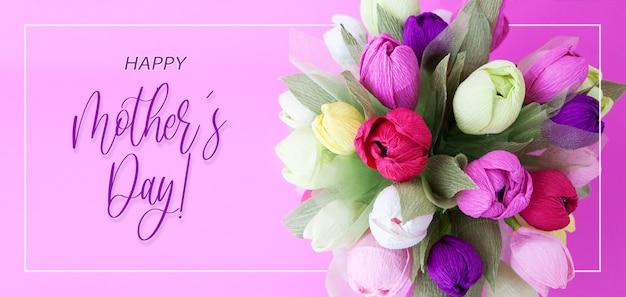 Baner z kolorowym bukietem kwiatów z papieru i napisem happy mothers day