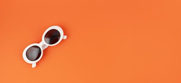 Baner ze stylowymi okularami przeciwsłonecznymi na pomarańczowej ścianie. letnia moda, impreza, styl letni, koncepcja wakacji. minimalne płaskie ułożenie, widok z góry