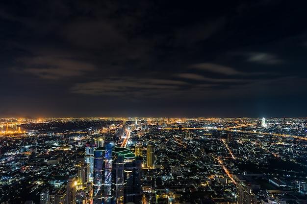 Bangkok miasto przy nocą, tajlandia