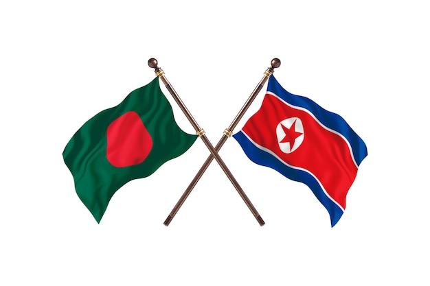 Bangladesz a tło flagi korei północnej
