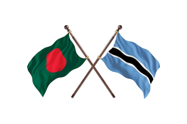 Bangladesz kontra tło flagi botswany