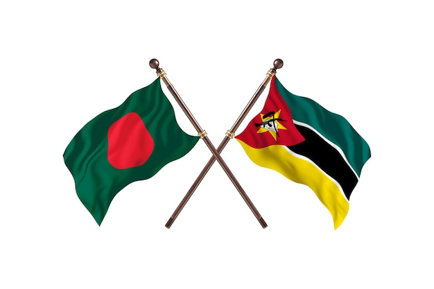 Bangladesz kontra tło flagi mozambiku