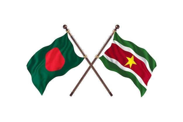 Bangladesz kontra tło flagi surinamu