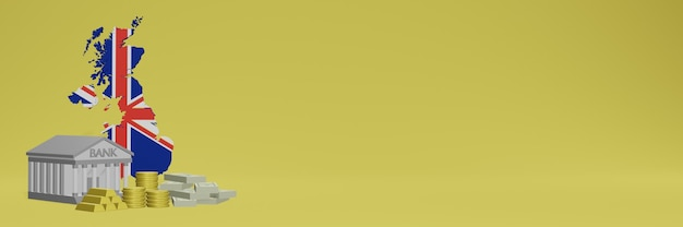 Bank ze złotymi monetami w anglii dla mediów społecznościowych i okładek tła strony internetowej może służyć do wyświetlania danych lub infografik w renderowaniu 3d.