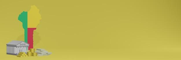 Bank ze złotymi monetami w beninie dla mediów społecznościowych i okładek tła strony internetowej może służyć do wyświetlania danych lub infografik w renderowaniu 3d.