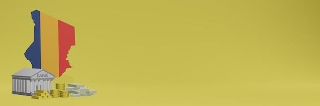 Bank ze złotymi monetami w czadzie dla mediów społecznościowych i okładek tła strony internetowej może służyć do wyświetlania danych lub infografik w renderowaniu 3d.